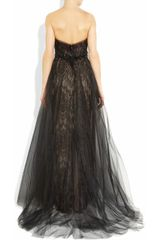 Marchesa Tulle and Lace Gown in Black - Lyst