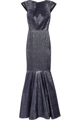 Roland Mouret Copperfield Metallic Silkblend Gown in Blue (navy) - Lyst