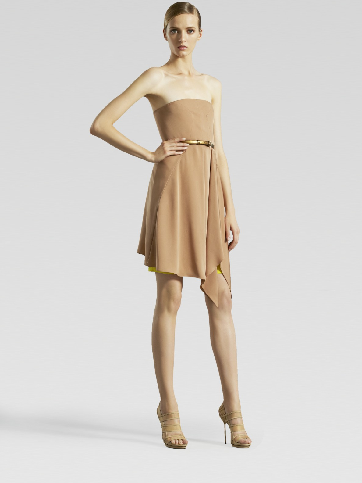 Lyst Gucci Strapless Silk Dress In Pink
