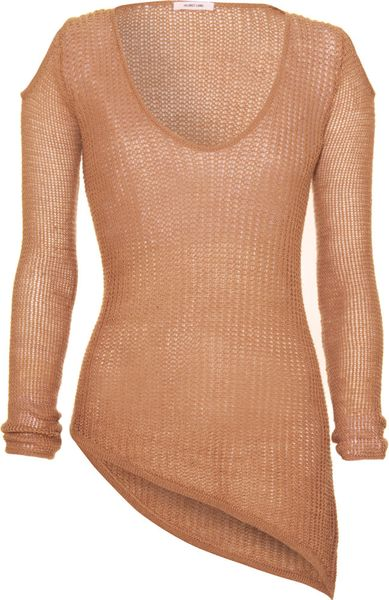 Helmut Lang Asymmetric Hem Sweater tan in Brown (tan) - Lyst