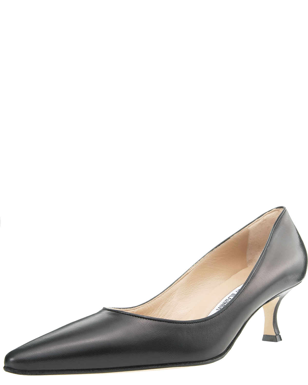 Manolo blahnik kidskin low heel pump black in black lyst for Shoe designer manolo blahnik