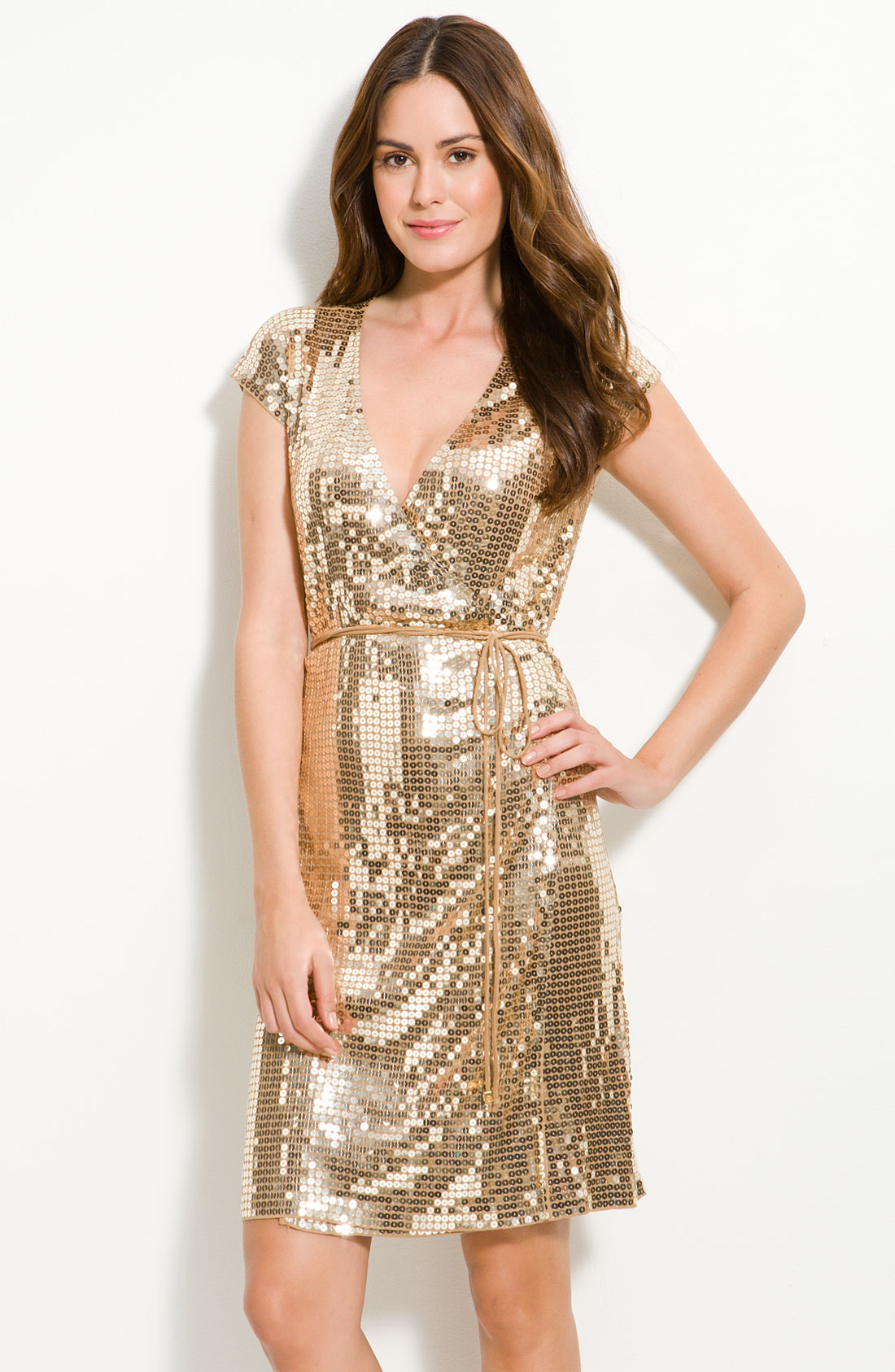 Michael Kors Sequined Wrap Dress In Gold Camel Lyst
