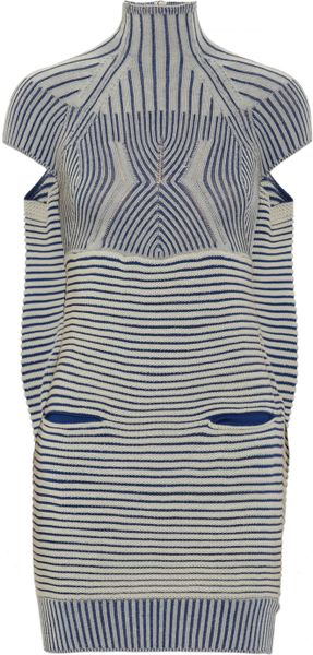 Peter Pilotto Turtleneck Woven Dress in Blue