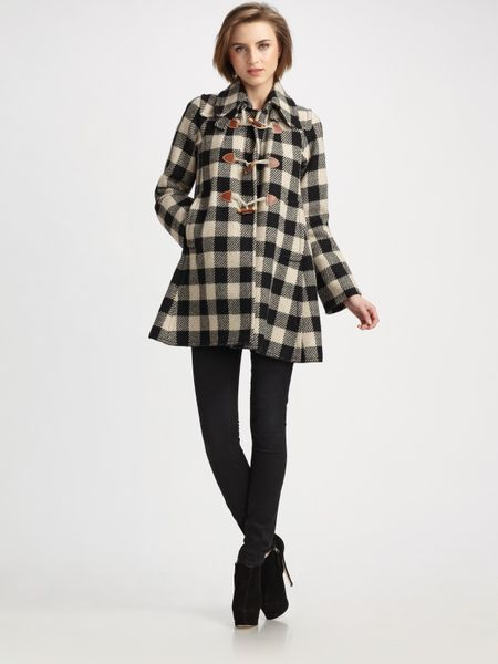 sonia by sonia rykiel plaid wool rich a line coat in black noir lyst. Black Bedroom Furniture Sets. Home Design Ideas