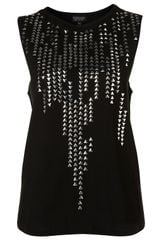 Topshop Studded Tank Top in Black - Lyst