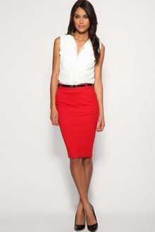 ASOS Collection Asos Tailored Belted Ponti Pencil Skirt - Lyst