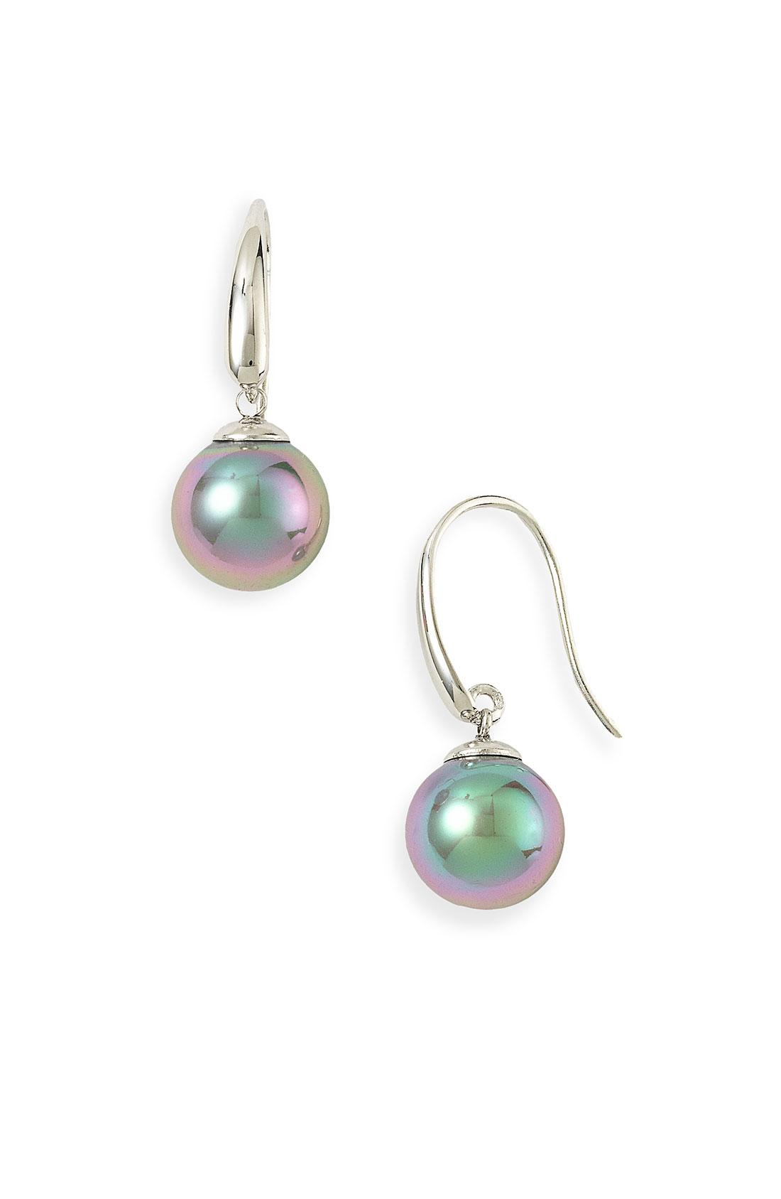 majorica 10mm pearl drop earrings in gray tahitian pearl