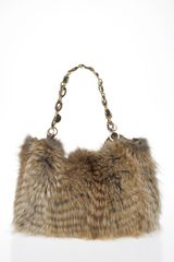 Oscar de la Renta Fox Feathered Shoulder Bag - Lyst