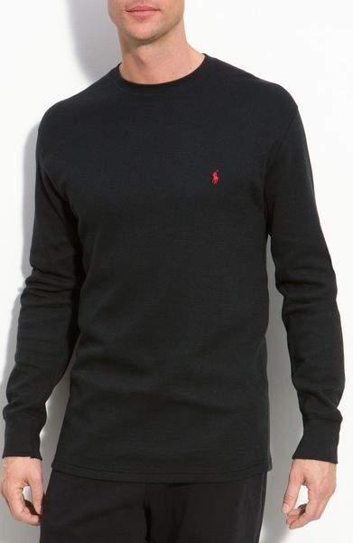 polo ralph lauren long sleeve thermal crewneck in black