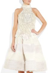 Alexander Mcqueen Handembroidered Silkchiffon Dress in White - Lyst