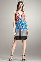 Derek Lam Deep V-neck Printed Silk Dress - Lyst