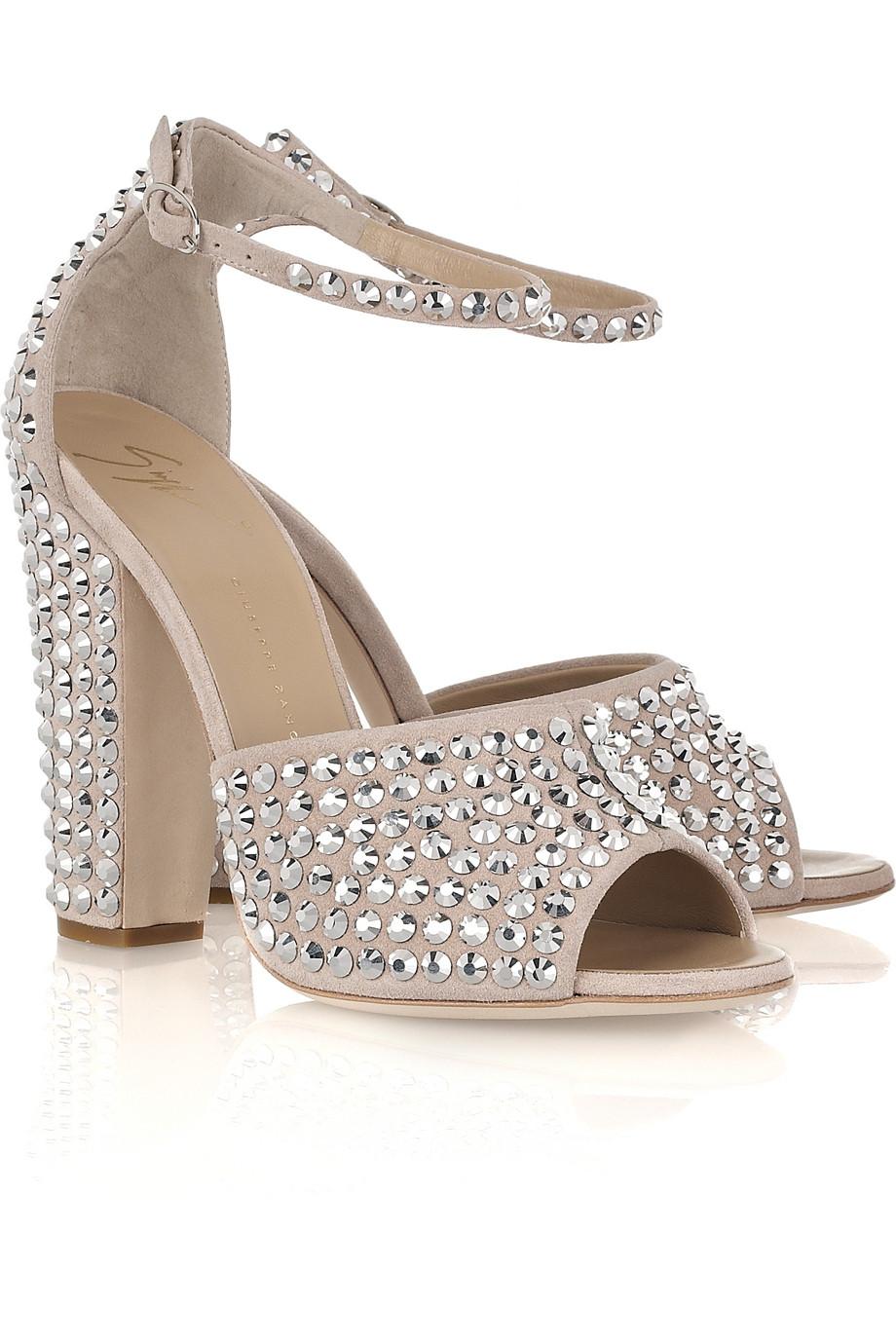 7b9eafbf5 Giuseppe Zanotti Crystal-embellished Suede Sandals in Metallic - Lyst