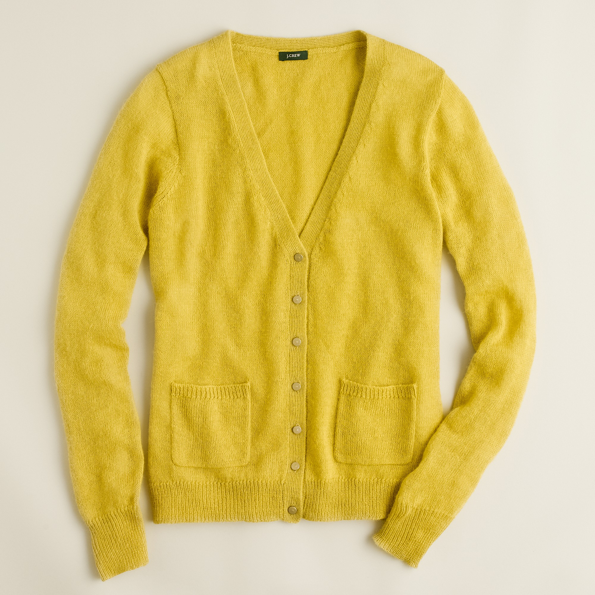 J.crew Crystal Button Cardigan in Yellow | Lyst