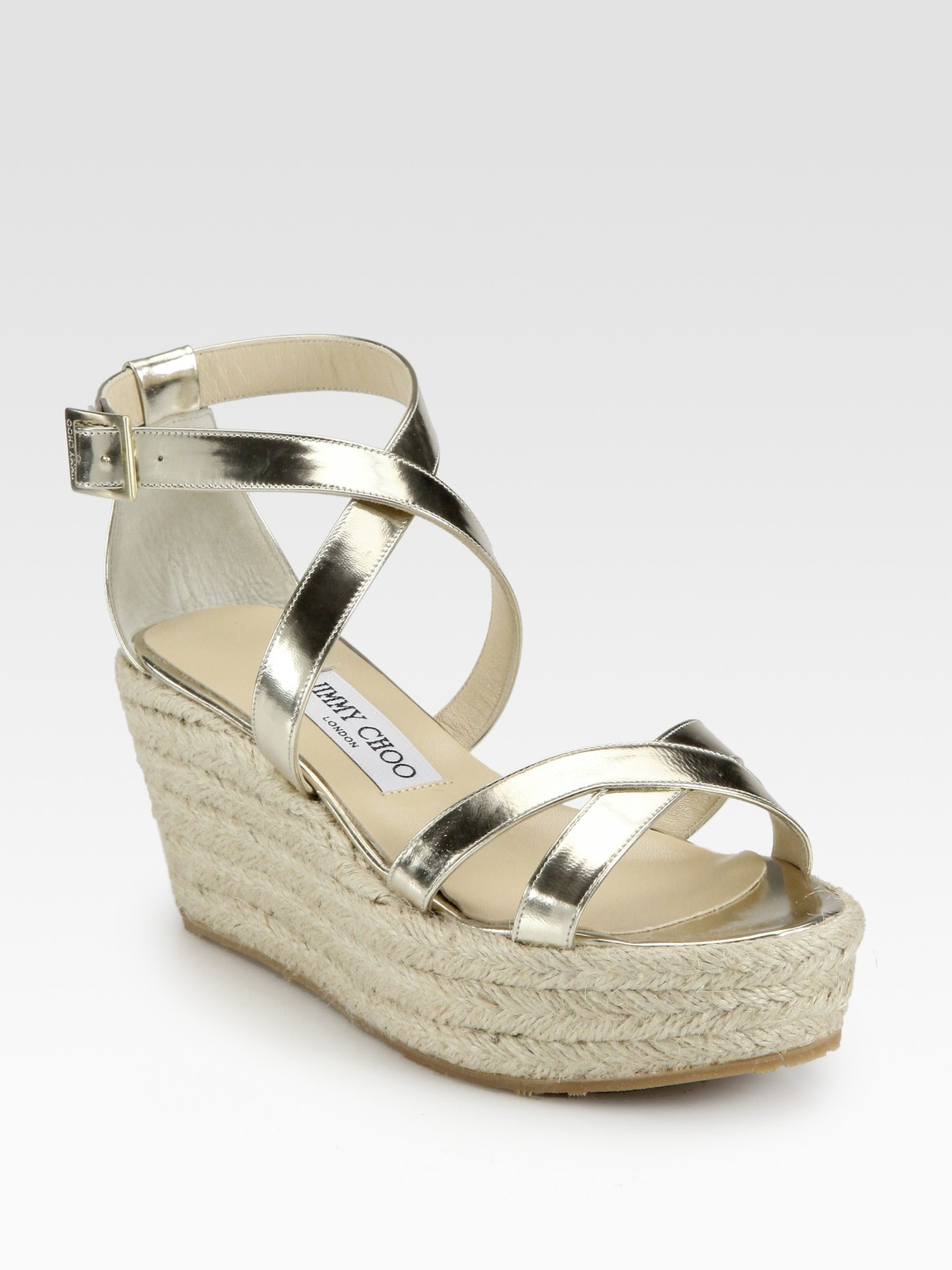 Jimmy Choo Poria Metallic Leather Espadrille Wedge Sandals
