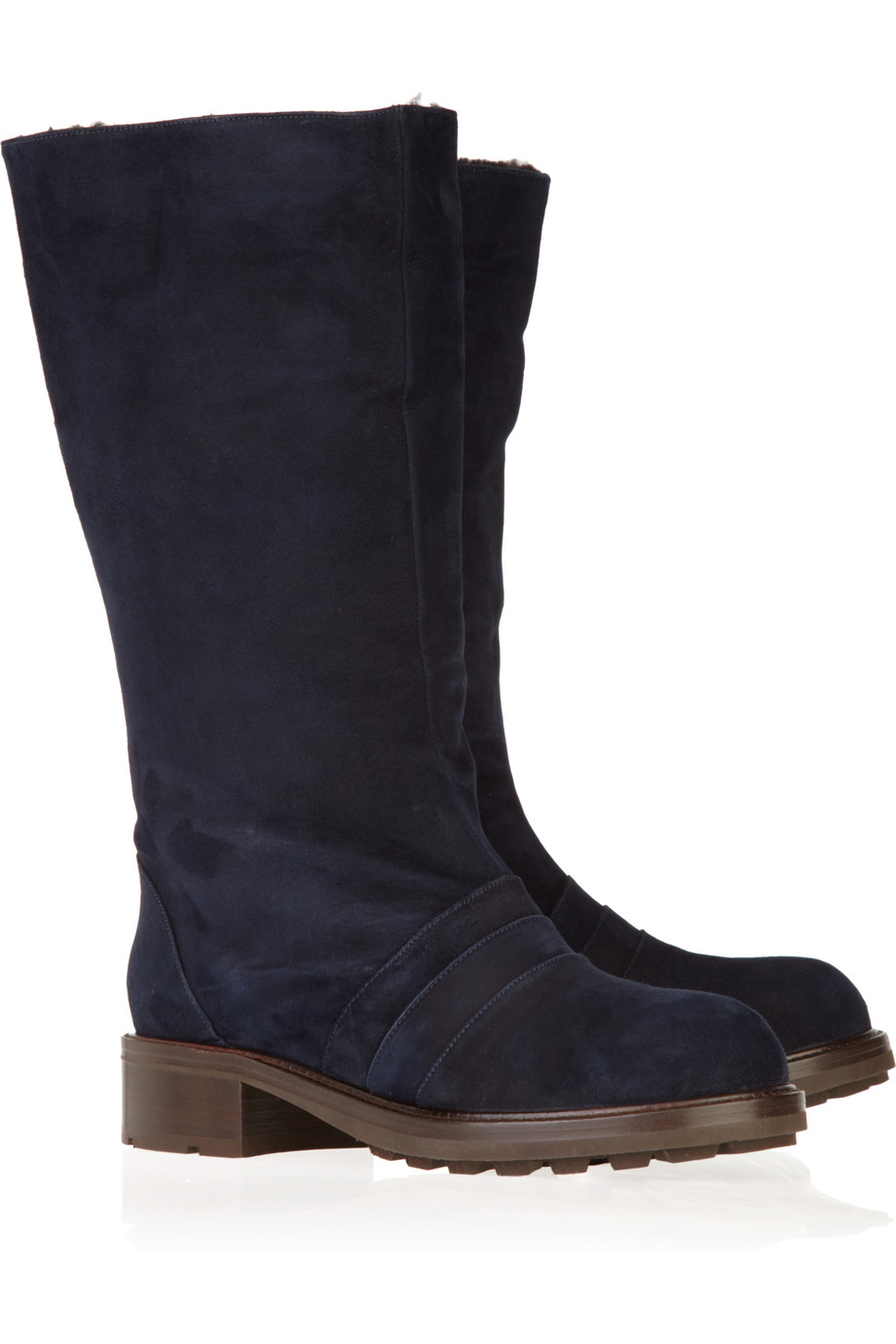 marni shearling lined suede mid calf boots in blue lyst