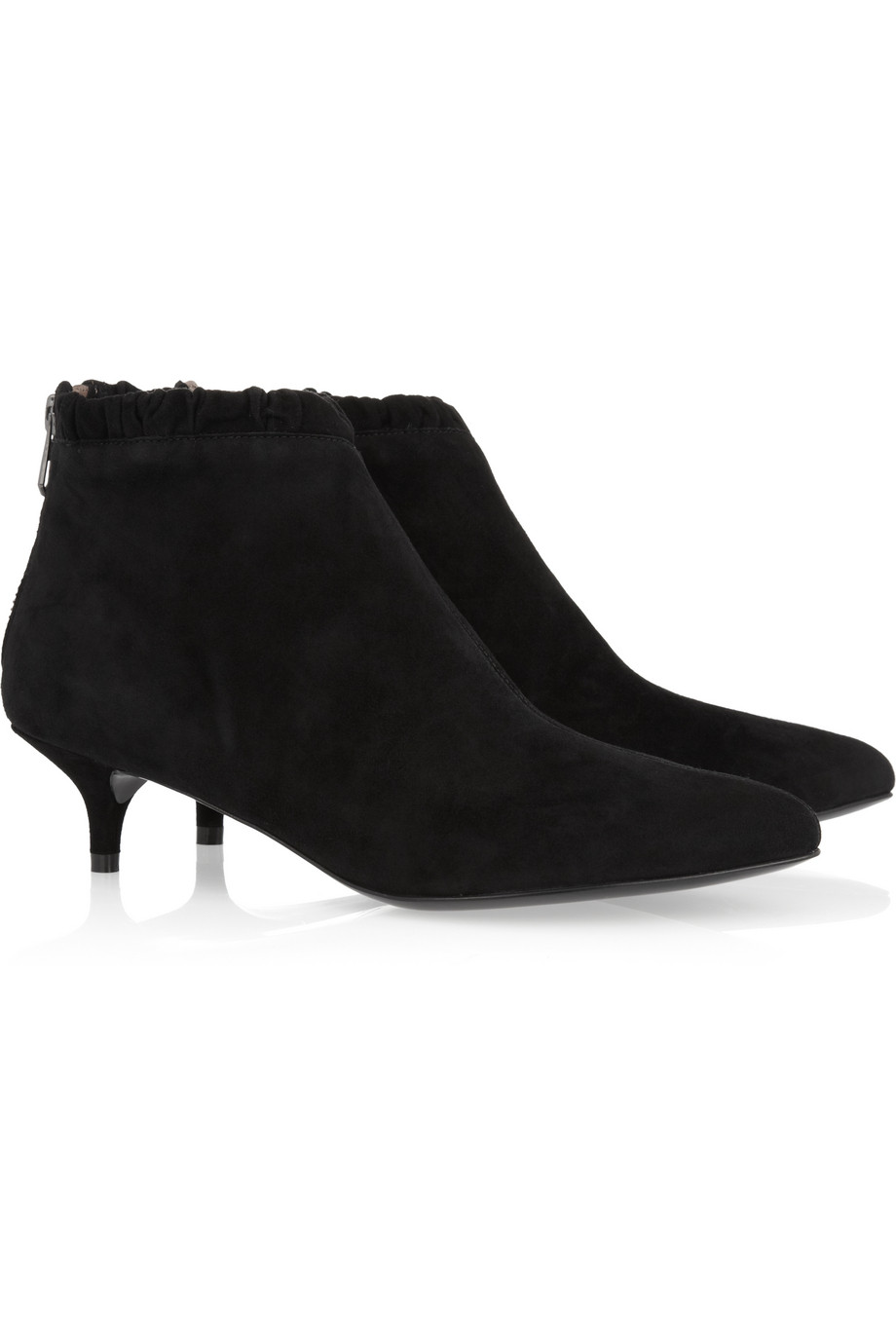 Sigerson Morrison Suede Kitten Heel Ankle Boots In Black