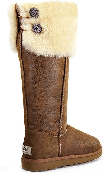 Ugg Bailey Button Chestnut Suede Over The Knee Shearling