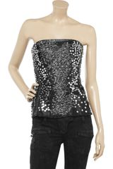 Balmain Embellished Leather Bustier in Black - Lyst