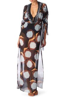 Diane Von Furstenberg Beacon Large Beach Printed Silk Beaded Melli Cover-up - Lyst