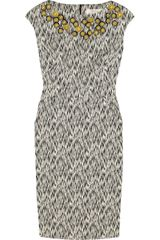 Lela Rose Embellished Jacquard Dress - Lyst
