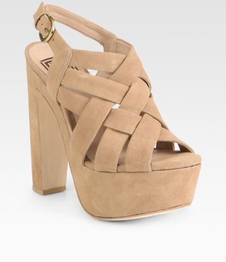 Pour La Victoire Glenna Woven Suede Platform Sandals in Brown (tan) - Lyst