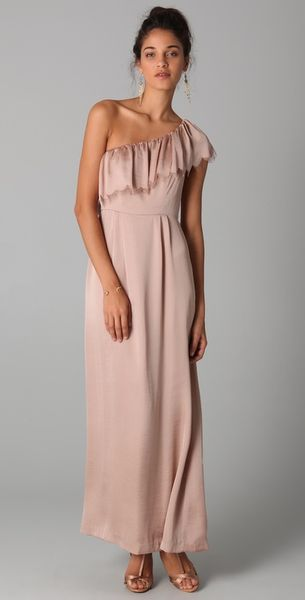 Rebecca Taylor Eyelash One Shoulder Gown in Pink (nude) - Lyst