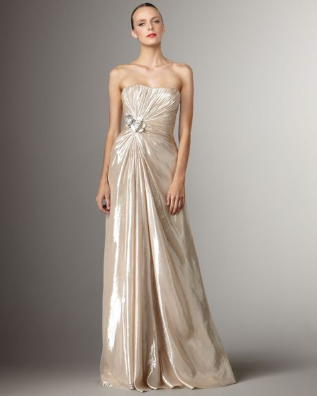 Pamella Roland Applique Lame Gown in Gold (silver champagne)
