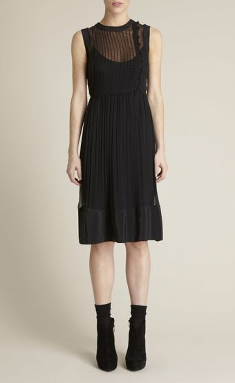 Adam Lippes Asymmetrical Chiffon Dress - Lyst