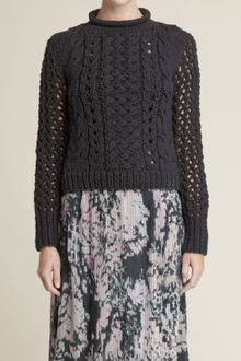 Adam Lippes Cropped Long-sleeve Sweater - Lyst