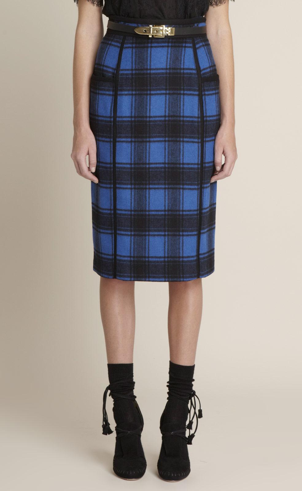 adam lippes plaid wool pencil skirt in blue blackblue lyst