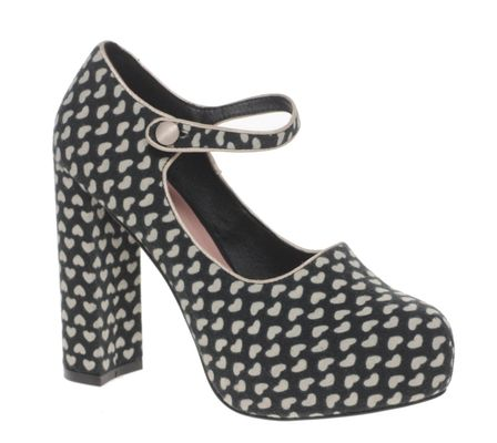Asos Shoes Asos Pickle Heart Print Platform Mary Jane Shoe