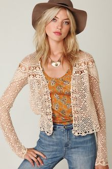 Free People Fp New Romantics Crochet Cardigan - Lyst
