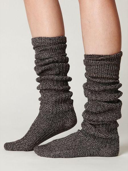 Free People Rib Slouch Tall Sock In Black Black White