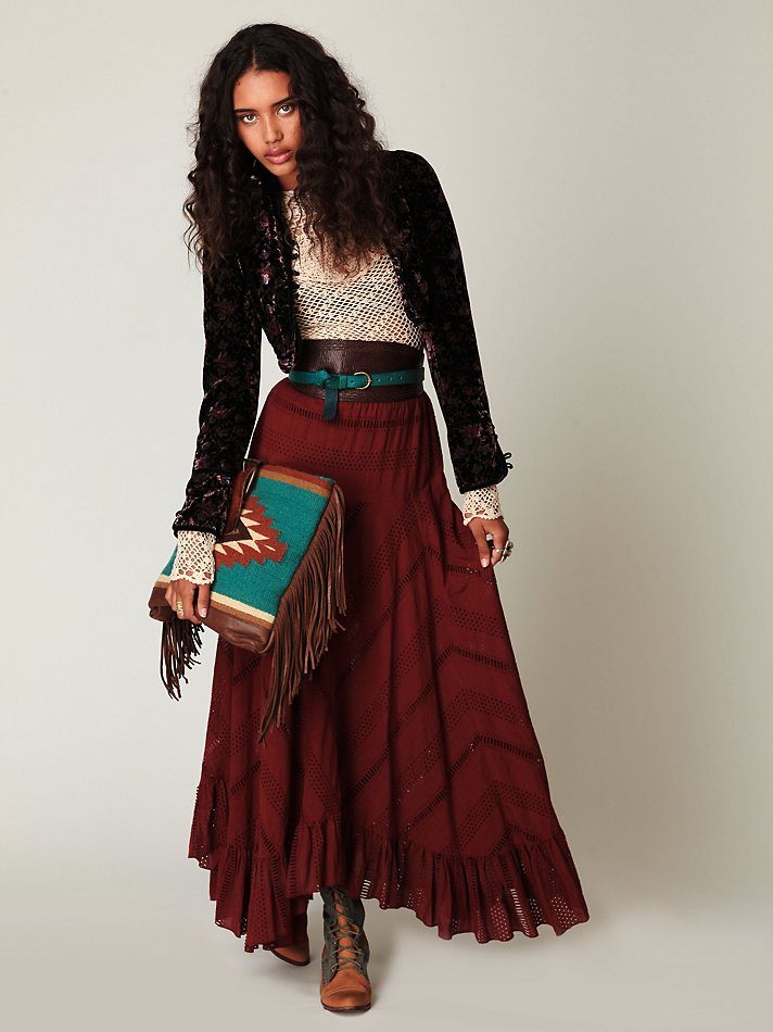 Lyst Free People Solid Pieced Maxi Skirt In Red
