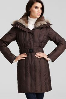 Andrew Marc Belted Down Coat with Fur Hood and Collar - Lyst