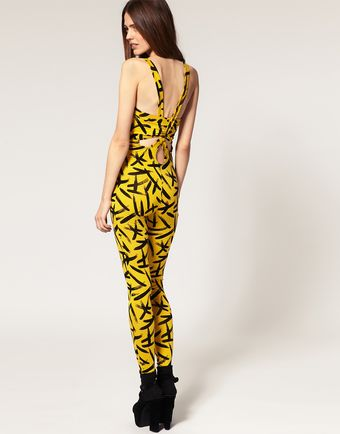 ASOS Collection Asos Unitard in Brush Stroke Print - Lyst