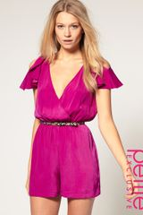ASOS Collection Asos Petite Exclusive Playsuit with Ruffle Shoulder Detail - Lyst