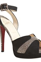 Christian Louboutin Black Canvas and Lizard Skin Double Moc 140 Ankle Wrap Heels in Black - Lyst