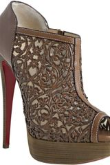 Christian Louboutin Cognac Leather Pampas 150 Laser Cut Peeptoe Booties - Lyst