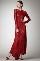 Diane Von Furstenberg Sequined Open-back Gown