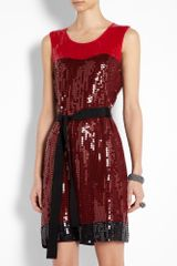 Dkny Lacquer Sleeveless Sequin Block Colour Dress in Red - Lyst
