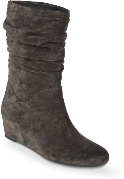 franco sarto itra suede wedge boots in gray grey suede