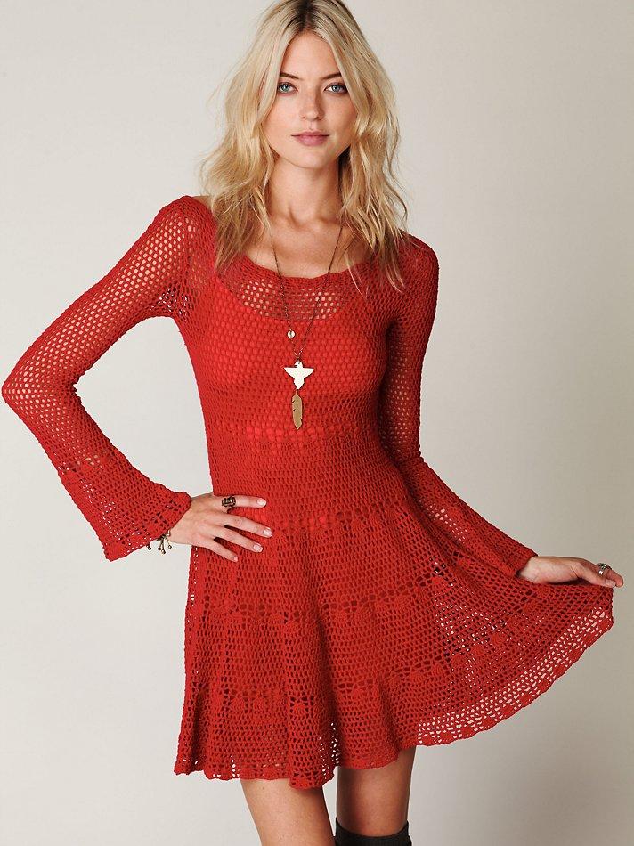 Free people Belle Sweater Knit Dress in Red  Lyst
