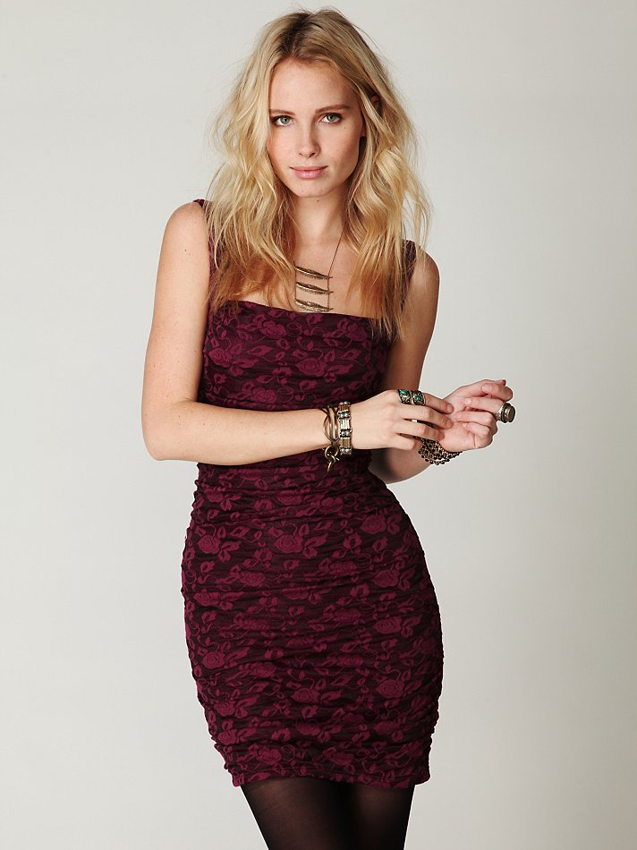 Free People Dusty Rose Knit Dress In Red Raspberry Lyst