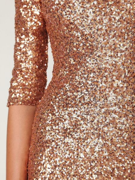 Free People Sequin Sway Dress In Gold Rose Gold Lyst