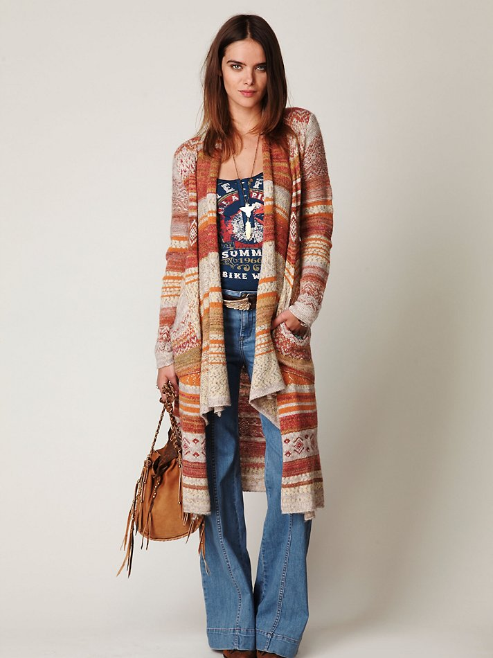 Free people Fairisle Long Cardigan in Brown | Lyst