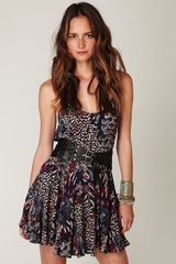 Free People Animal Godet Tank Dress in Blue (sapphire combo) - Lyst