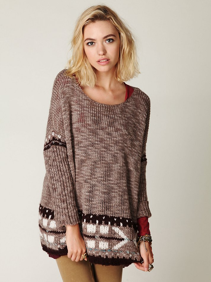 Free people Oversized Fairisle Trimmed Sweater in Brown | Lyst