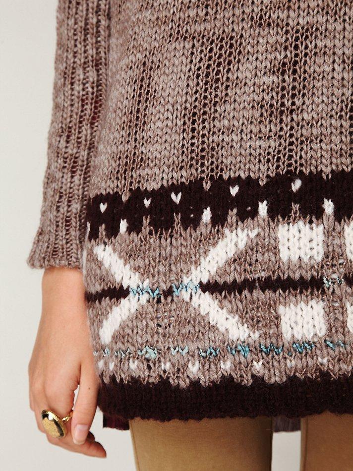 Free people Oversized Fairisle Trimmed Sweater in Brown | Lyst