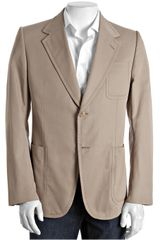 Gucci Dark Beige Cotton 2-button Silk Lined Blazer - Lyst